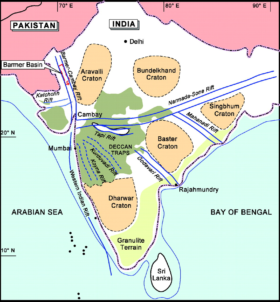 Geological Map Of India.Fig 1 The Geology Of The Barmer Basin Rajasthan India And The